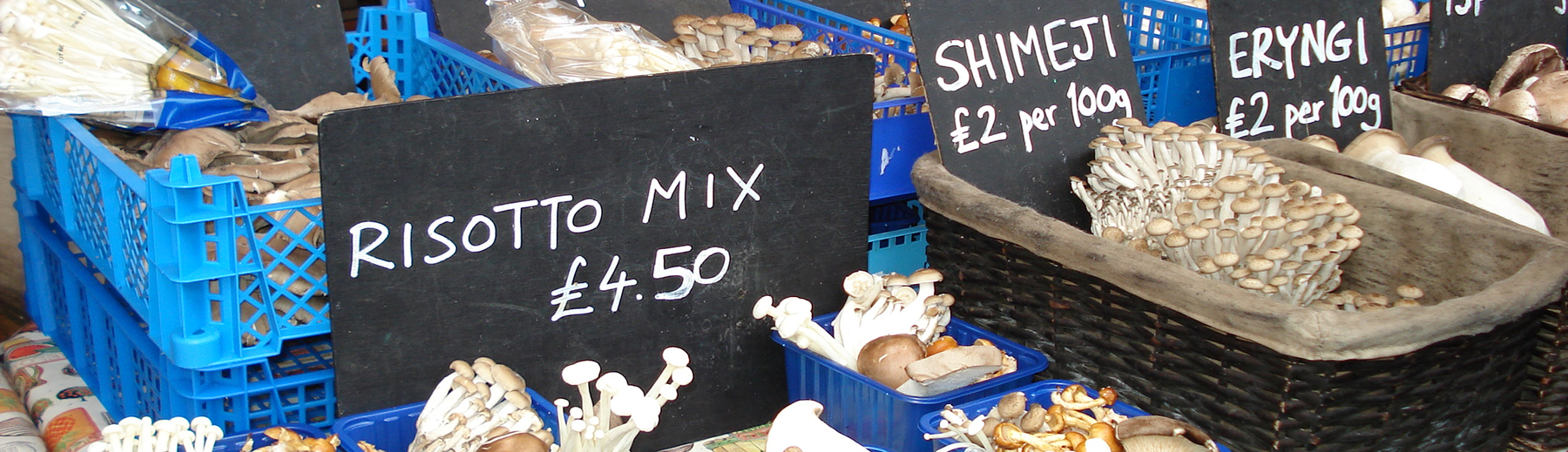 Mushrooms displayed in a farmers market