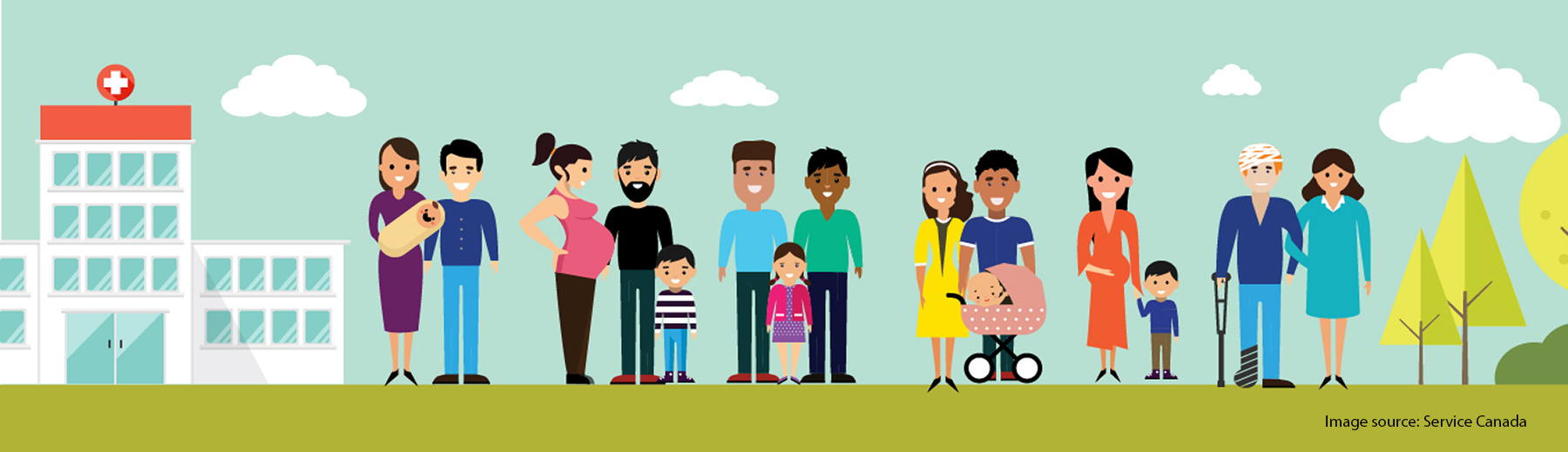 Cartoon image of many different people and family groups